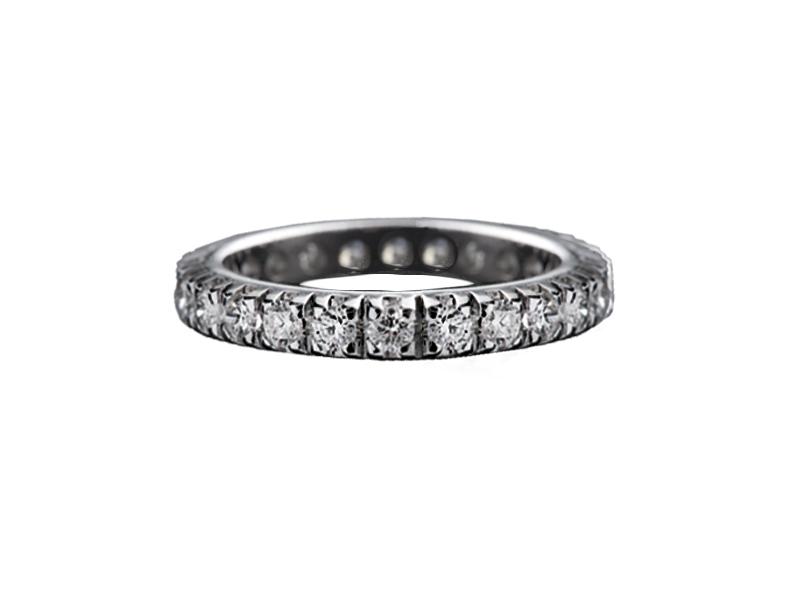 103 – Anello classico in oro bianco e diamanti naturali