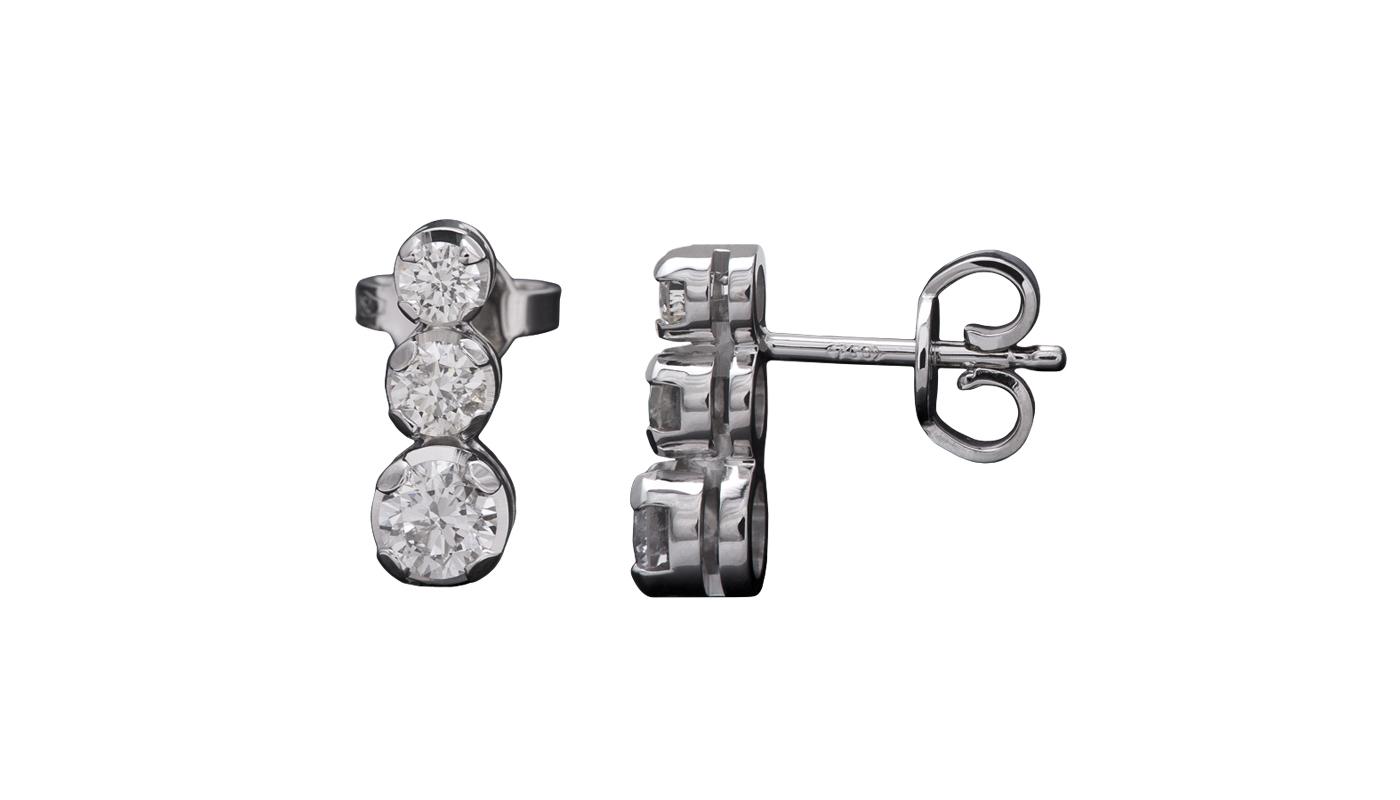 3006 – Orecchini punto luce in oro bianco e diamanti naturali