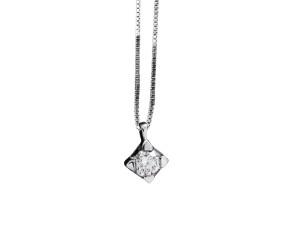 5001 - Collana classica in oro bianco e diamanti naturali