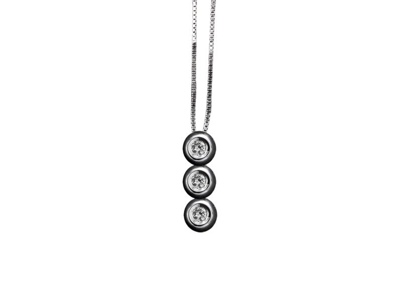 5007 – Collana classica in oro bianco e diamanti naturali