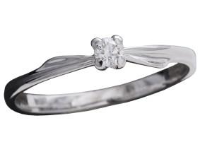 7001 - Anello classico in oro bianco e diamanti naturali