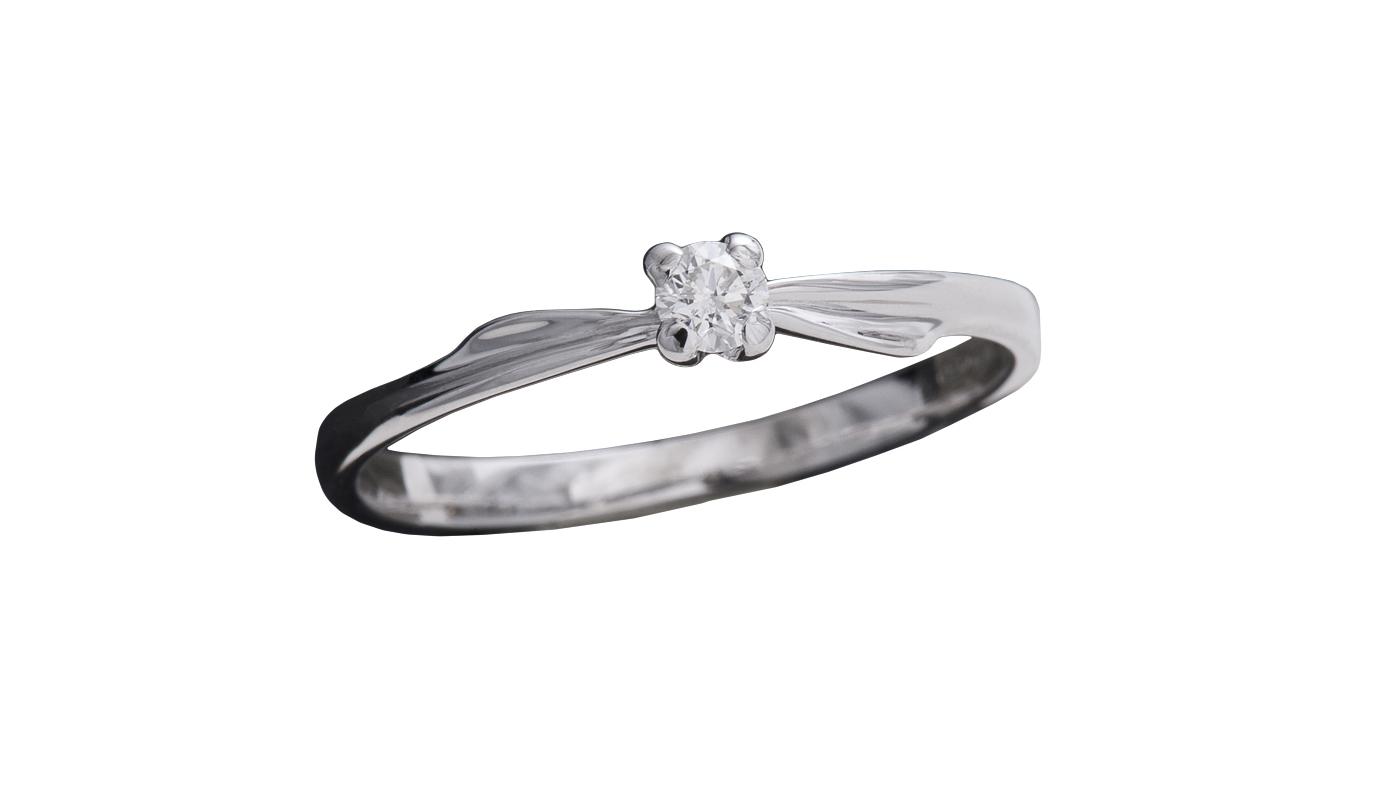 7001 – Anello classico in oro bianco e diamanti naturali