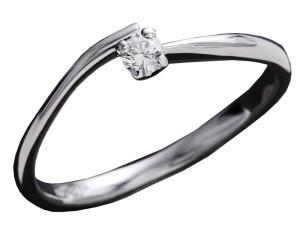 7002 - Anello classico in oro bianco e diamanti naturali