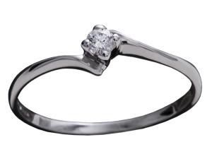 7003 - Anello classico in oro bianco e diamanti naturali