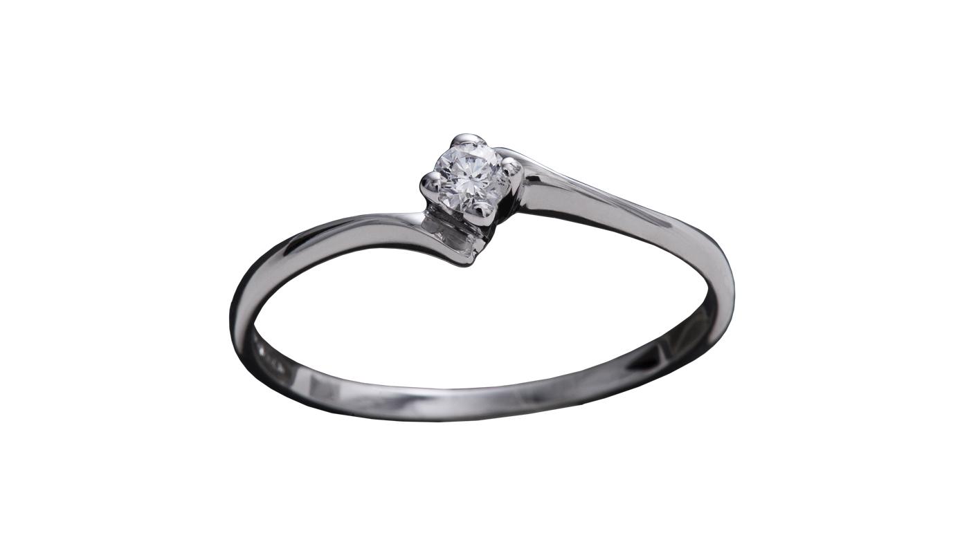 7003 – Anello classico in oro bianco e diamanti naturali
