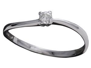 7004 - Anello classico in oro bianco e diamanti naturali