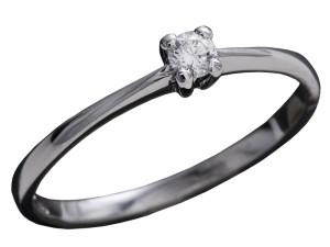 7006 - Anello classico in oro bianco e diamanti naturali