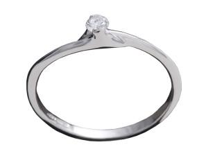 7008 - Anello classico in oro bianco e diamanti naturali