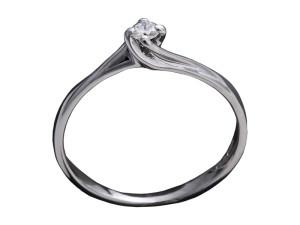 7009 - Anello classico in oro bianco e diamanti naturali