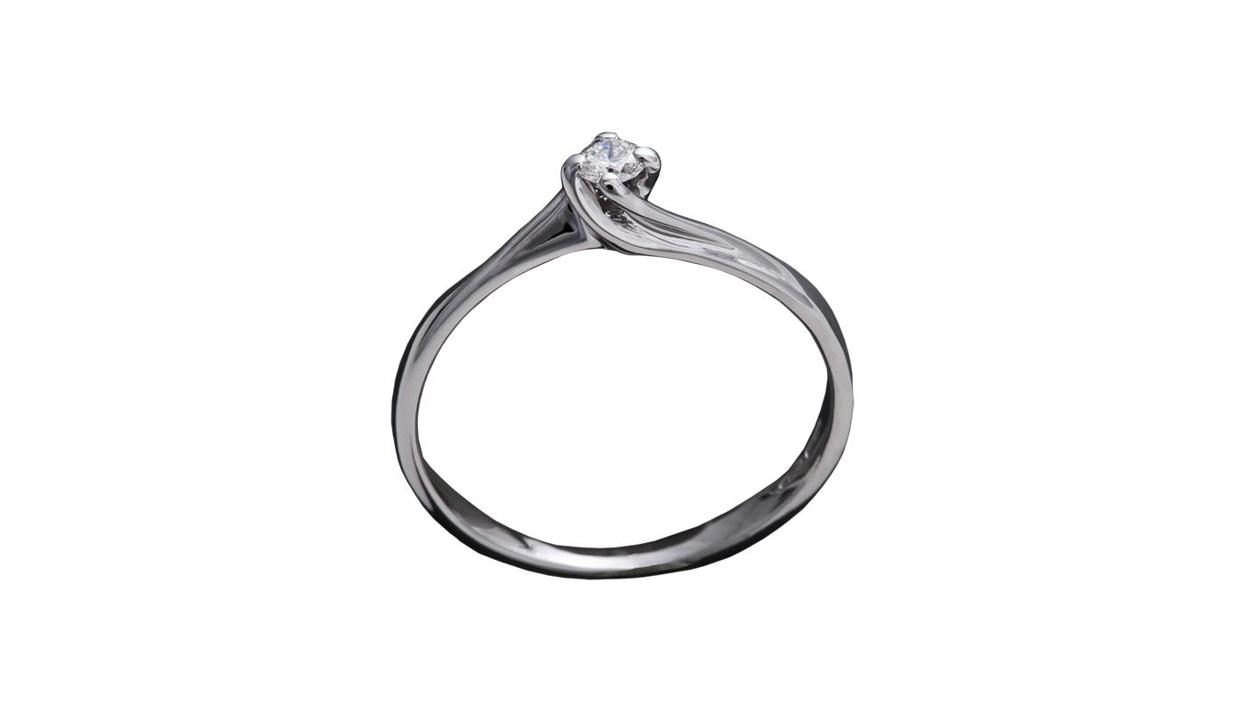 7009 – Anello classico in oro bianco e diamanti naturali