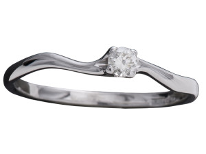 7010 - Anello classico in oro bianco e diamanti naturali