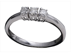 7999 - Anello classico in oro bianco e diamanti naturali