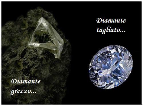 Diamante grezzo e tagliato